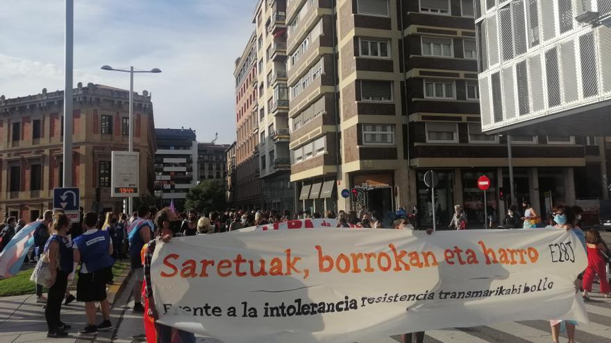 Manifestación en Pamplona para celebrar el Día Internacional del Orgullo LGTBI+