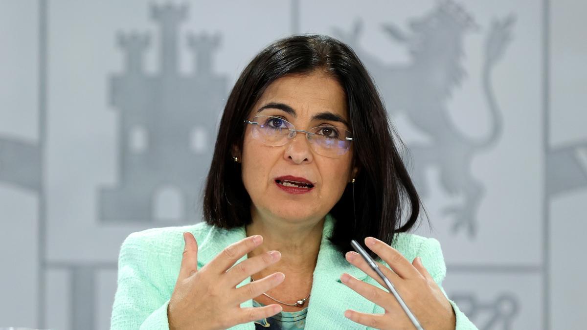 La ministra de Sanidad, Carolina Darias, ofrece una rueda de prensa tras la reunión del ConsejoInterterritorialdel Sistema Nacional de Salud, este miércoles en Madrid. EFE/Kiko Huesca
