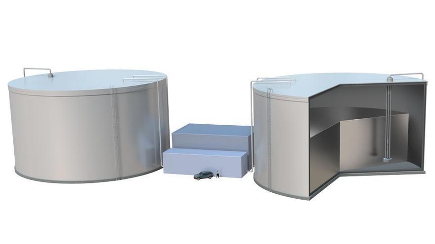 Modelo propuesto por el MIT para almacenar energías renovables. En él se calentaría silicio hasta los 2.500 grados, temperatura a la que produce luz que puede ser utilizada por placas fotovoltaicas para producir energía.