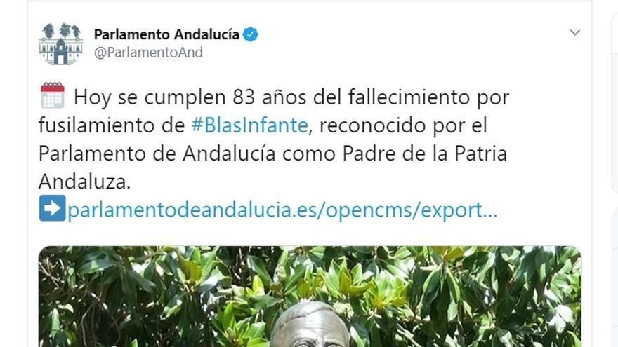 """El Parlamento andaluz se defiende de las críticas por hablar del """"fallecimiento"""" de Blas Infante: El PSOE decía lo mismo"""