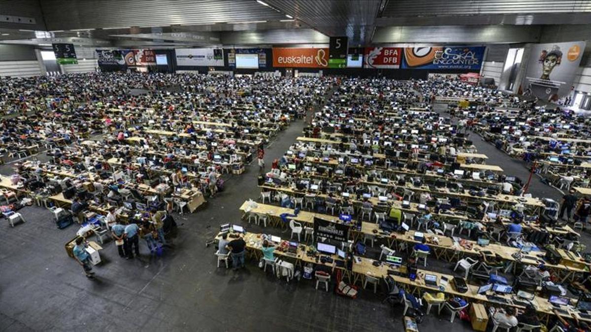 La zona de ordenadores de la Euskal Encounter en anteriores ediciones