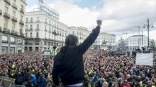 Pablo Iglesias, en la marcha del cambio de Podemos del 31 de enero de 2015.