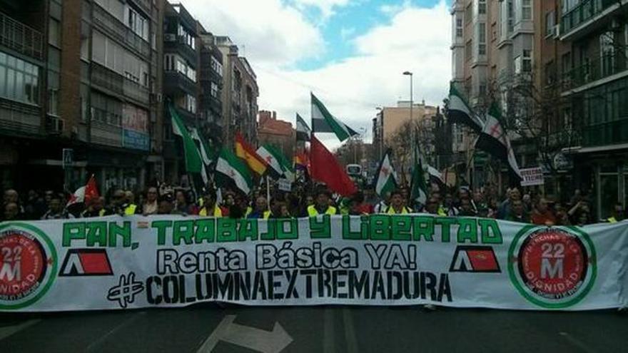 Protesta por la renta básica extremeña el pasado 22 de marzo en Madrid