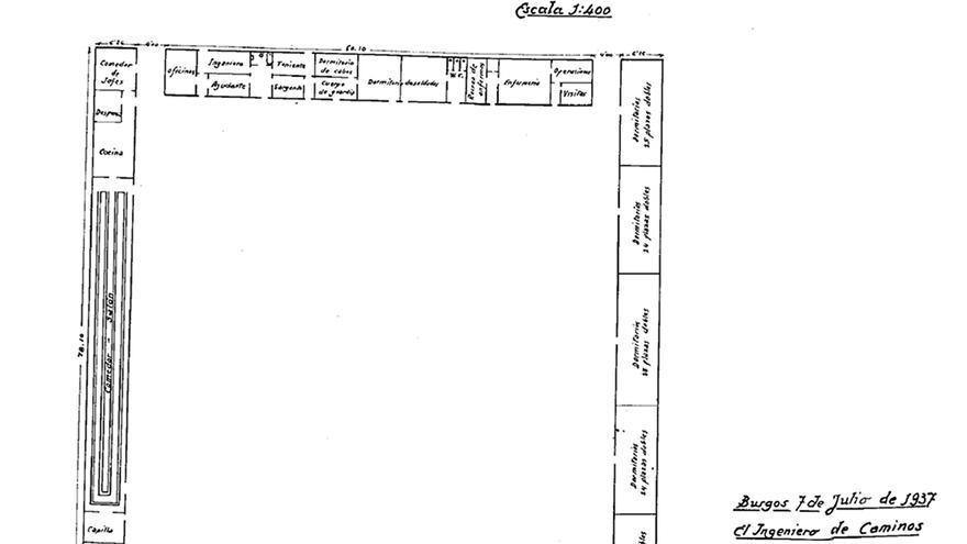 Plano del campo de concentración de Heliópolis (Sevilla). / RMHSA de CGT.A