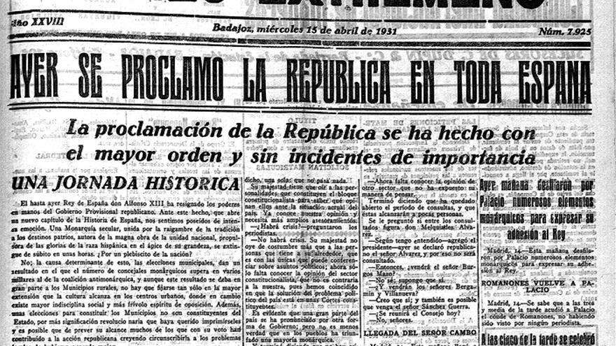'El Correo Extremeño' informa el 15 de abril de 1931 de la proclamación de la II República en Badajoz