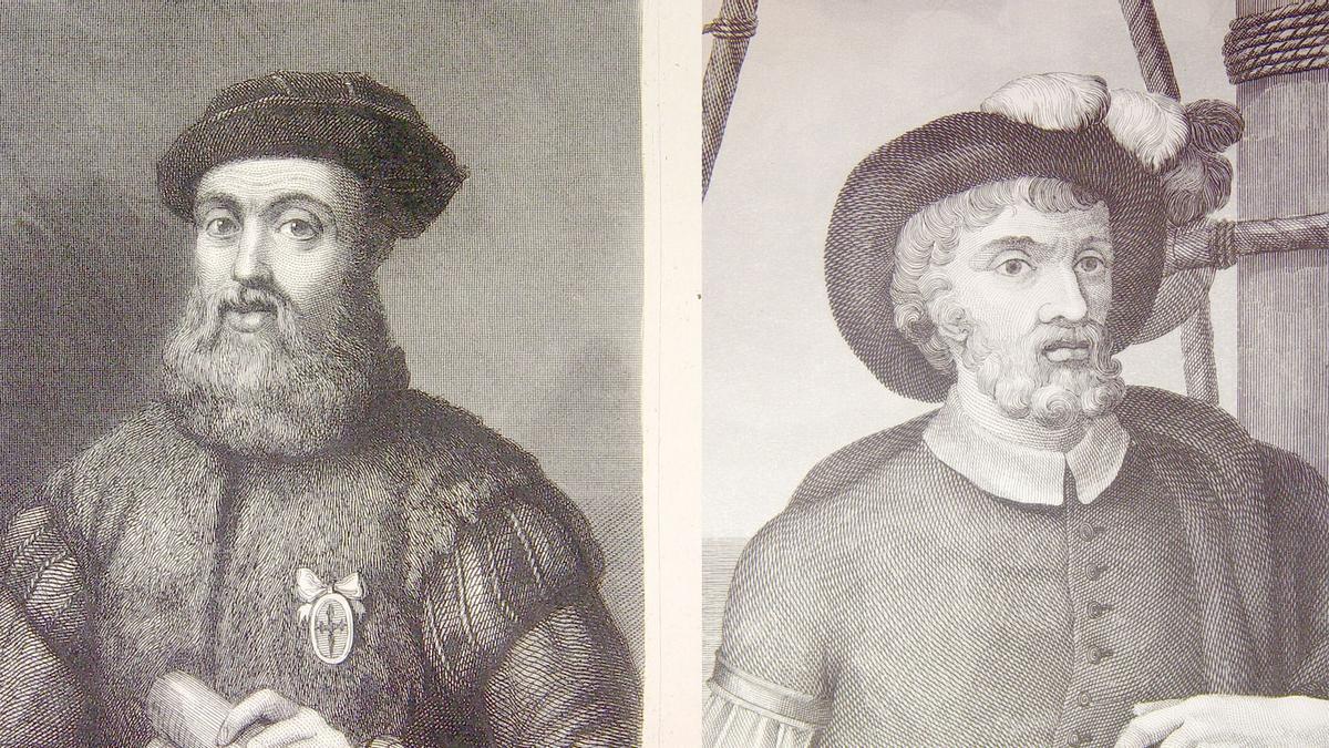 Juan Sebastián Elcano, a la derecha, junto con Fernando de Magallanes, a cuya muerte quedó a cargo de la expedición que completaría la primera vuelta al mundo