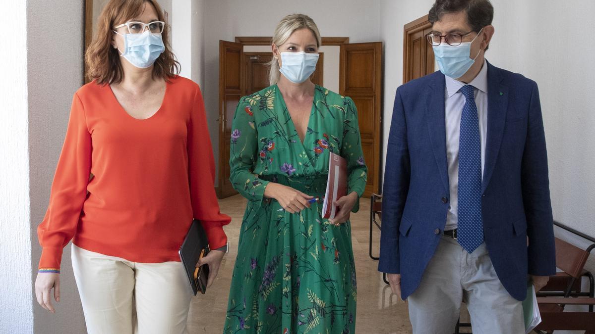 La vicepresidenta del Gobierno regional, Isabel Franco, (izqda); la portavoz del Gobierno, Ana Martínez Vidal (centro) y el consejero de Salud, Manuel Villegas