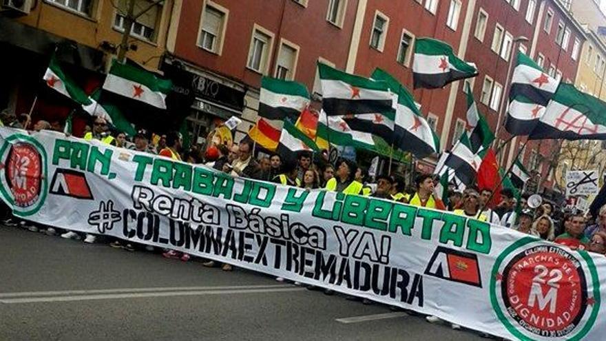Columna de Extremadura en las Marchas de la Dignidad el 22-M en Madrid