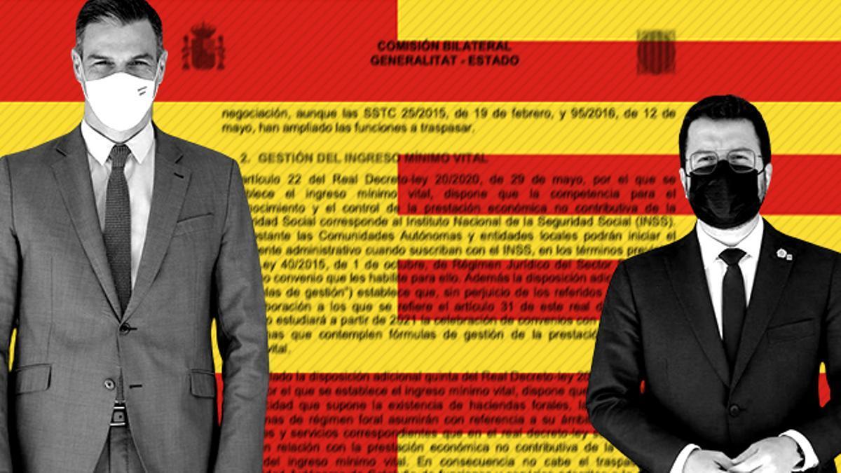 Pedro Sánchez y Pere Aragonès, sobre un detalle de los documentos de la última Comisión Bilateral