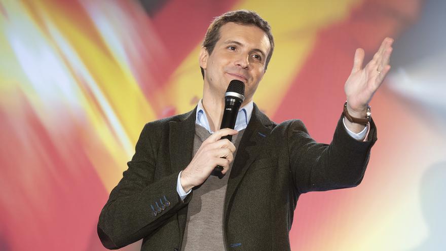 El presidente del Partido Popular, Pablo Casado, durante la campaña andaluza.