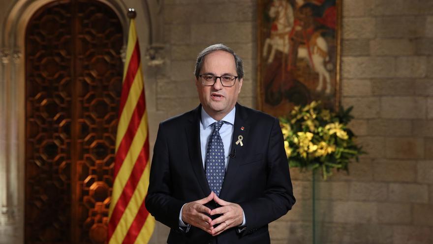 El president Quim Torra durante la grabación del mensaje de fin de año