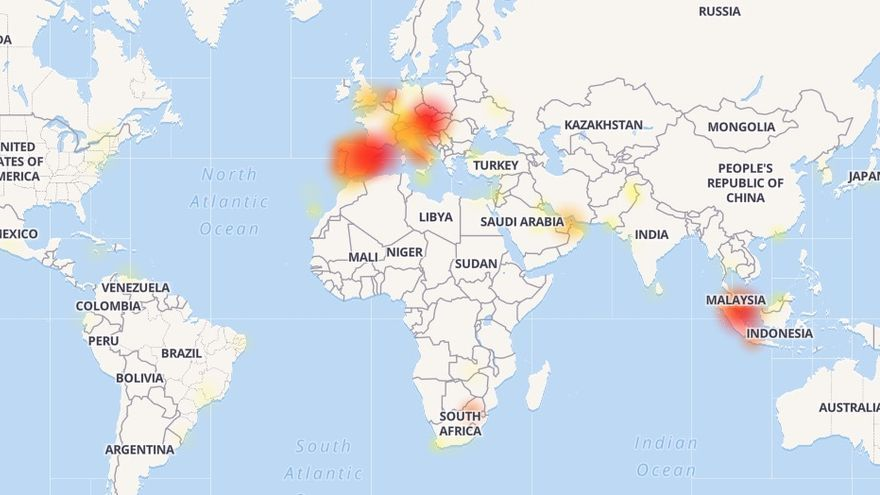 Problemas registrados en Whatsapp, según Downdetector