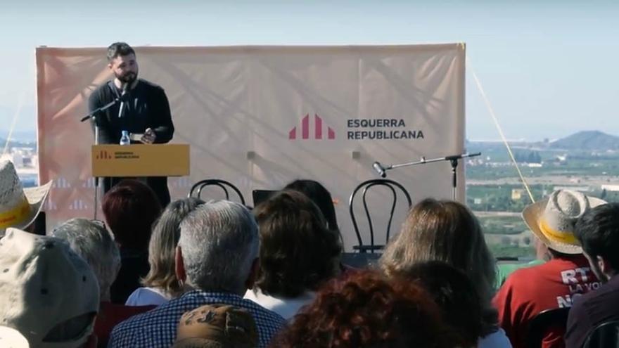 Gabriel Rufián durante su intervención en el 'Aplec de El Puig'