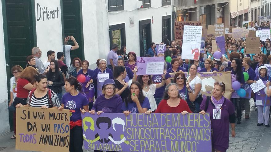 Un momento de la manifestación este jueves en la Calle Real.