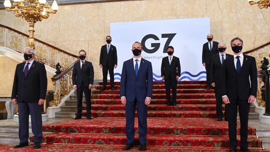 Foto de familia de los ministros de Exteriores y de Desarrollo del G7.