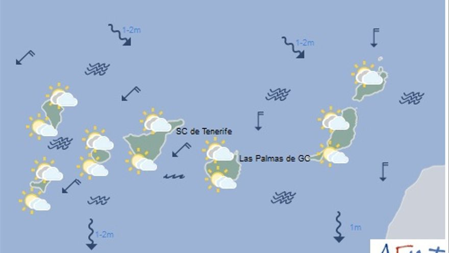 Mapa con la previsión del tiempo para este lunes, 23 de enero