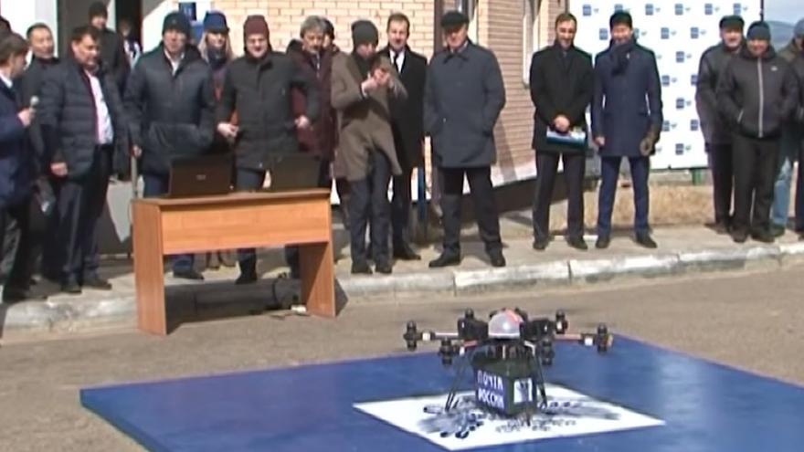 El dron momentos antes del despegue.