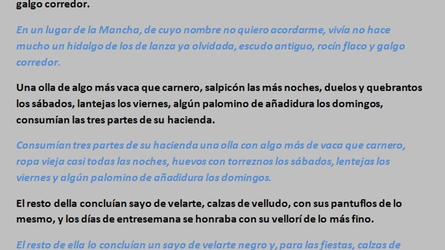 Traducción de Andrés Trapiello de las primeras frases de El Quijote