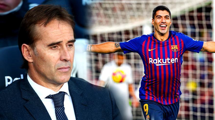 Lopetegui y Luis Suárez, en el FC Barcelona-Real Madrid