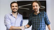Pablo Iglesias y Alberto Garzón negocian el encaje de candidatos de IU en una lista común