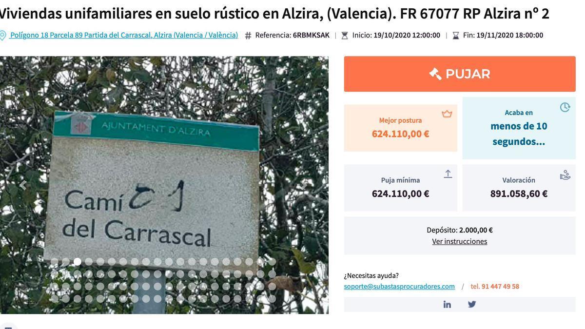 La licitació de la propietat de Rafael Blasco en la web del Col·legi de Procuradors.