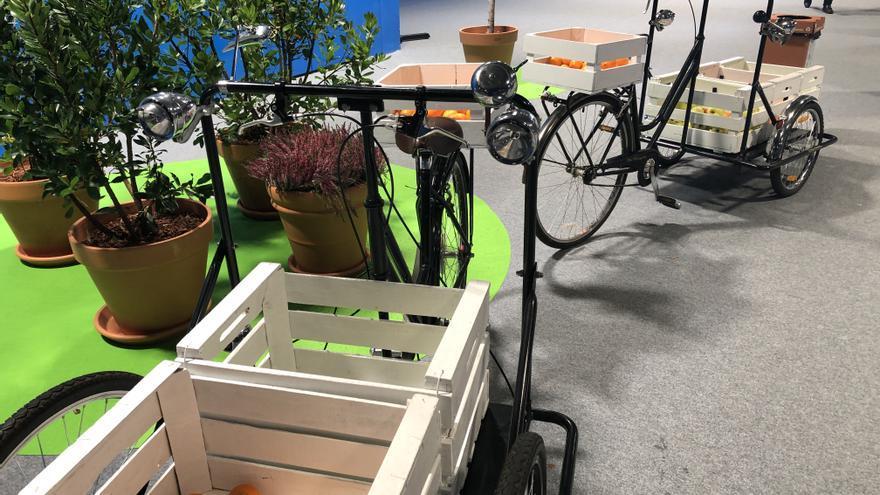 Bicicletas con cestas que repartían fruta desde primera hora de la mañana.