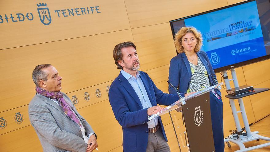 Efraín Medina, Carlos Alonso y Lola Pérez, en la presentación del informe de coyuntura económica del tercer trimestre