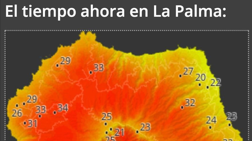 Mapa  de 'HD Meteo La Palma del Cabildo' .con los datos de  la temperatura que se registra este jueves en la Isla.