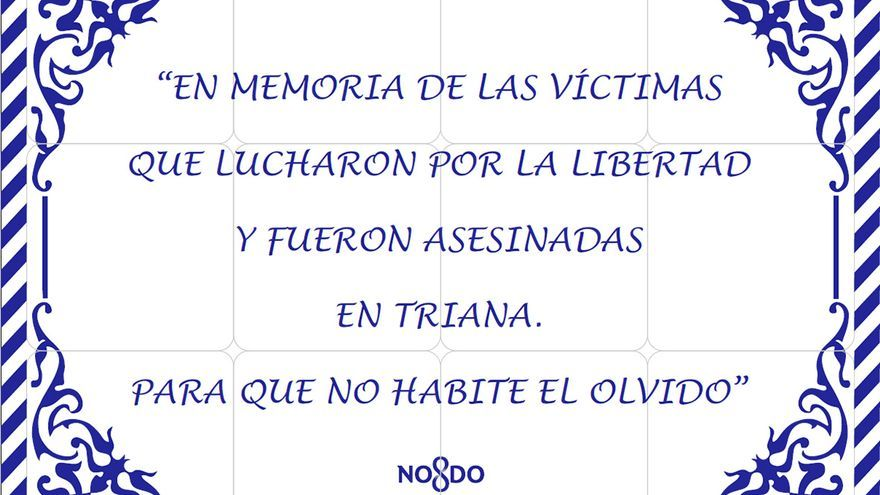 La placa que inaugura Triana en memoria de las víctimas del franquismo en el barrio sevillano.