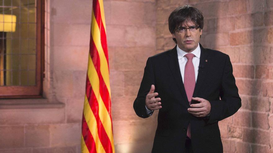Puigdemont, durante su discurso institucional