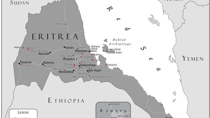Mapa de los centros de detención de Eritrea. Atención: no es exhaustivo, algunos lugares de los centros son aproximados. AI
