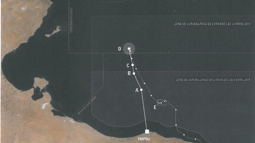 Mapa que indica el trayecto de la patera en la que viajaban 72 personas. Solo sobrevivieron 9.
