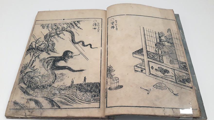 Ilustraciones del 'Desfile nocturno de los cien demonios', de Toriyama Sekien (1776) sobre el monstruo Nureonna, con cabeza de una mujer y cuerpo de serpiente