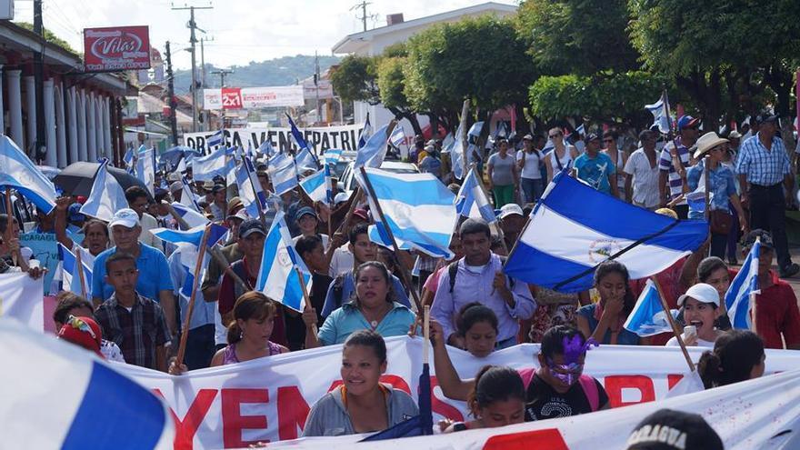 Marcha contra el Canal de Nicaragua el pasado sábado en Rivas./ ÁLVARO NAVARRO