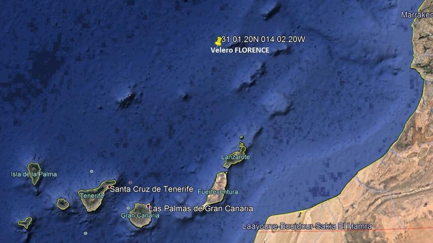 Zona donde fueron rescatados los tripulantes de un velero hundido.