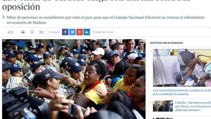 """En ABC: """"La Policía de Caracas carga con dureza contra la oposición"""""""