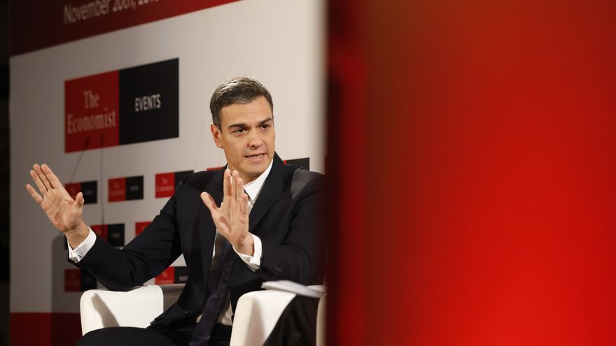 "Pedro Sánchez, durante las jornadas ""The Spain Summit"" organizadas por The Economist"