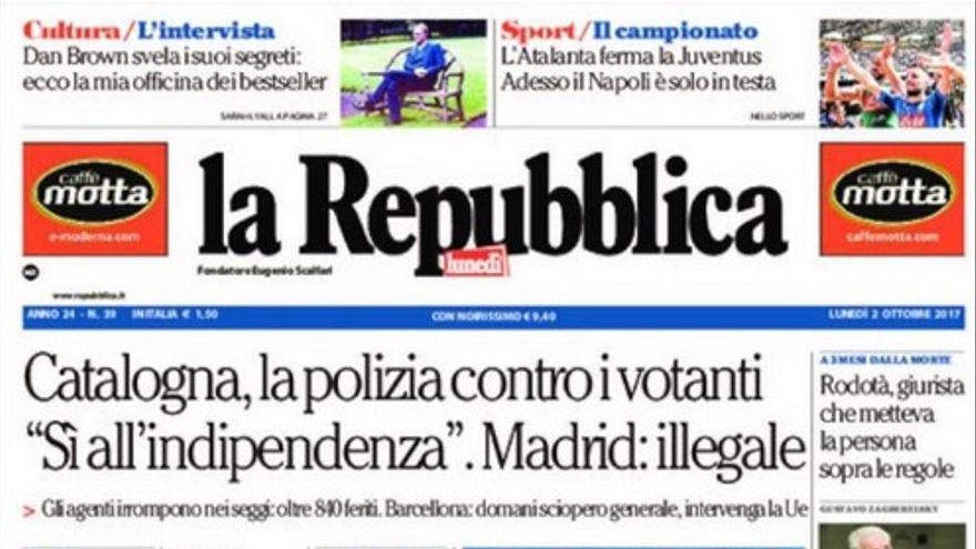 Portada de La Repubblica de este 2 de octubre de 2017.