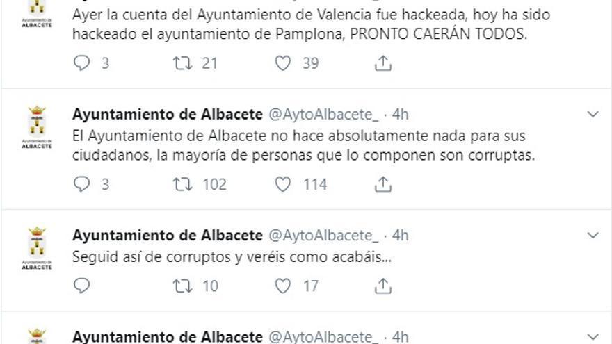 Captura de la cuenta en Twitter del Ayuntamiento de Albacete anunciando el hackeo