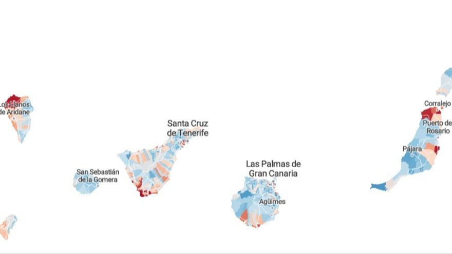 Mapa de pobreza en Canarias.