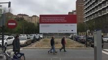 El panel instalado en la avenida Amado Granell, donde han arrancado los primeros trabajos