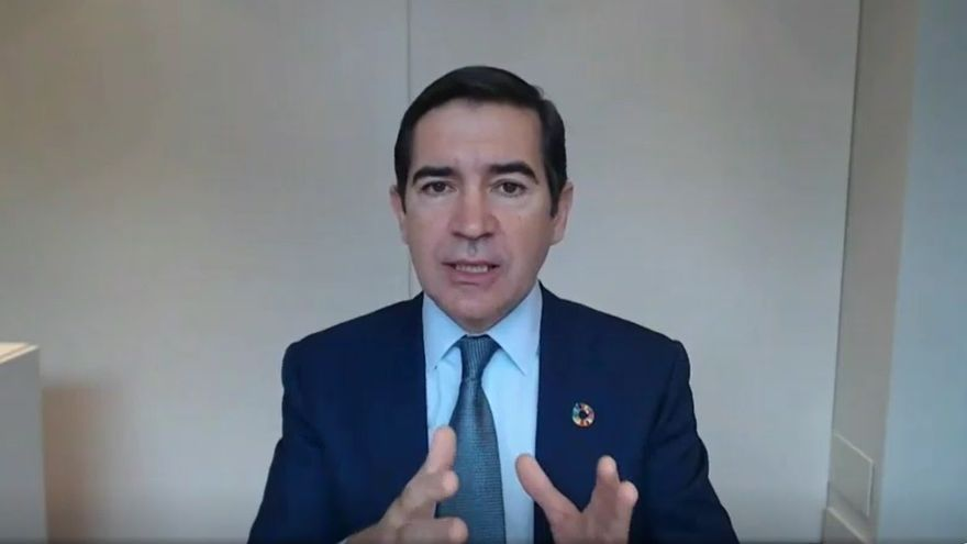 El presidente de BBVA, Carlos Torres Vila, durante la presentación de resultados de 2020.