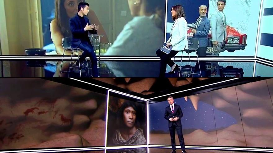 Dos escenas tomadas de la emisión del 'Telediario'