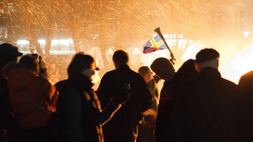 Protestas en Reykjavik en 2010.