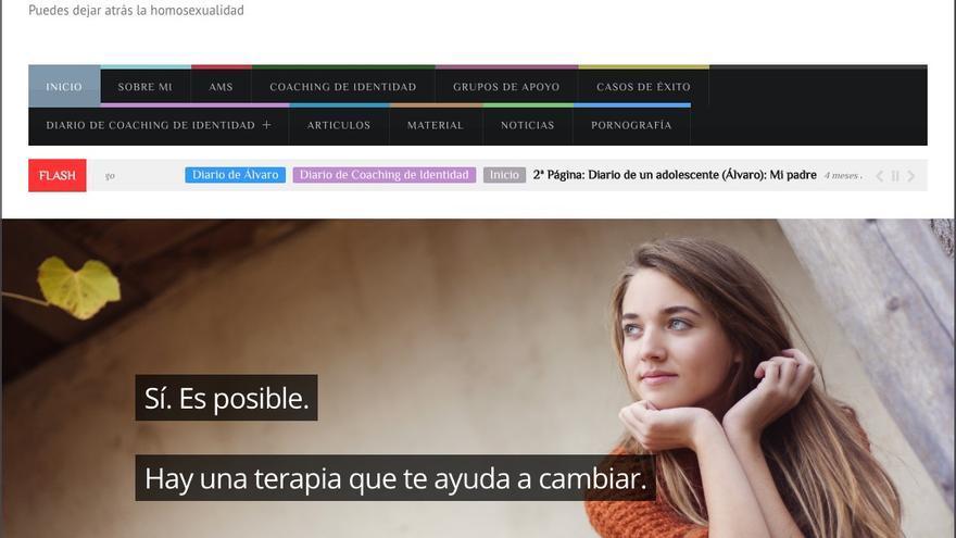 """Captura de la página web www.elenalorenzo.com que vende terapias para """"dejar atrás"""" la homosexualidad."""