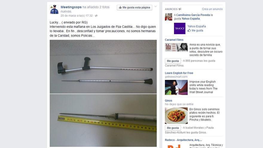 Captura de la publicación del día 20 en la página de Facebook de Meetingcops