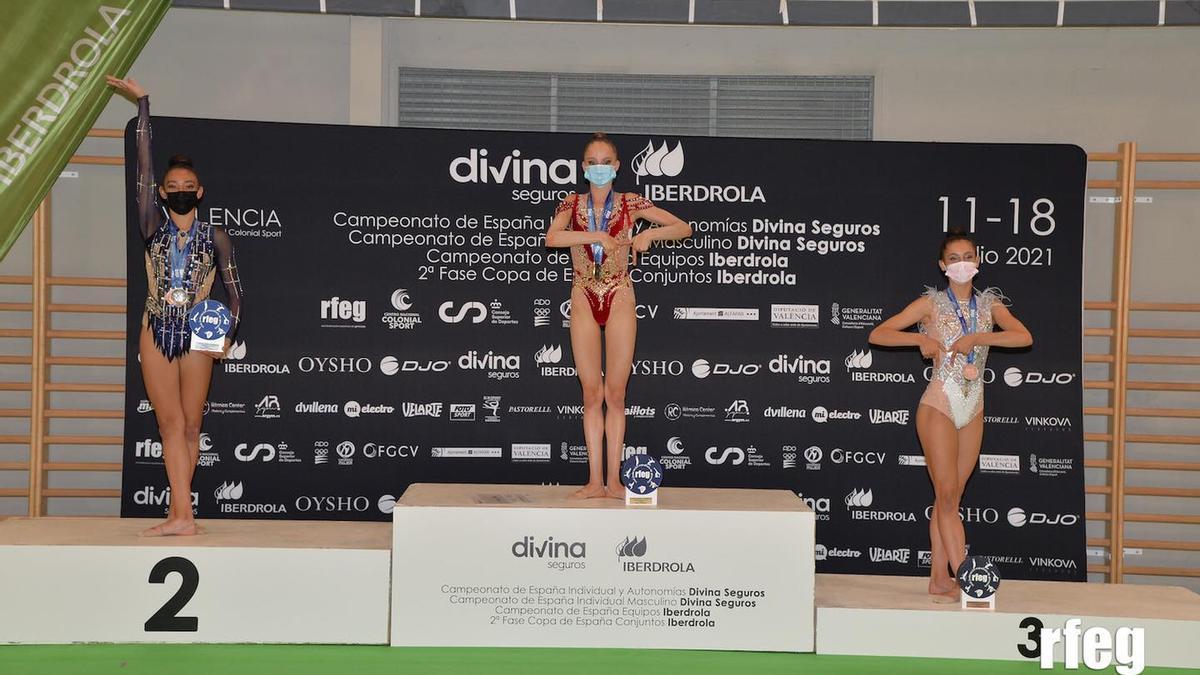 Ciara García, en el segundo escalón del podio.