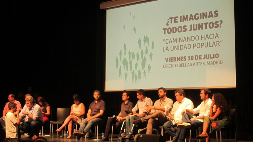 Debate sobre la unidad popular con Ahora en Común y representantes de partidos y candidaturas ciudadanas municipalistas. / Europa Press