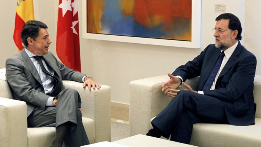 Ignacio González y Mariano Rajoy en la sede de la Comunidad de Madrid