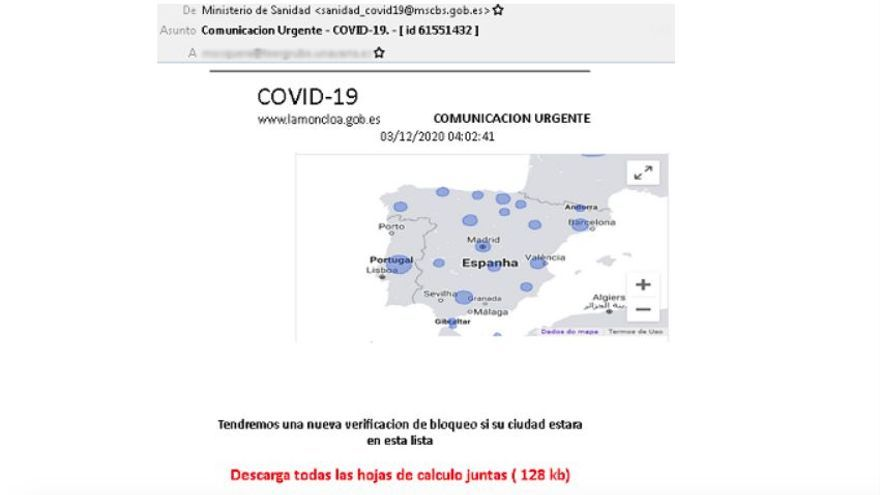 Alerta por una campaña de emails que suplantan a Sanidad e informan sobre un falso cierre perimetral por COVID-19